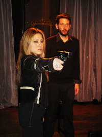 Kendra Arimoto and Ryan Hayes in HAMLET.
