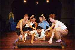 Jason Skevington, Wylie Herman, Kristina Henry, and Alec Fairey, ganging up on Jim Driscoll MacEachron in THE ODYSSEY.