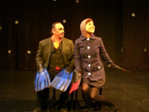 Warden Lawlor and Cassie Powell in the No Nude Men production.