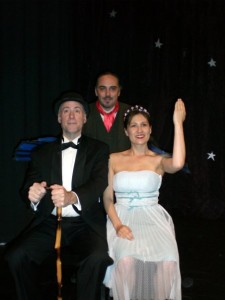 Scott Ayres, Warden Lawlor, and Stacy Malia in the No Nude Men production.