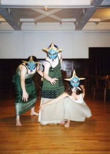 Deborah Strickland, Valerie Beck and Tracey Pickels in the Reed College production.
