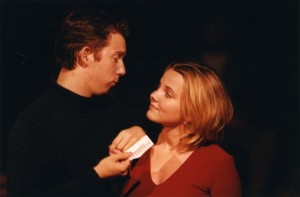 Brian McGrath and Sarah Calvert in the Horror Unspeakable production.