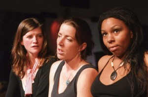 Margery Fairchild, Gina Seghi, and Felicia Benefield in the No Nude Men production.