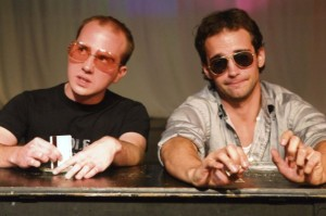 Justin Akers and Jesse Clark in the No Nude Men production.