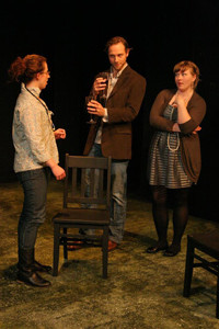 Julia Heitner, Andy Strong, and Kirsten Broadbear in the No Nude Men production.