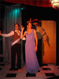 Gina Seghi, Michaela Greeley, and Chris Kelly in the second No Nude Men production.