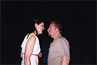 Miranda Calderon and Dan Bridges in the first No Nude Men production.