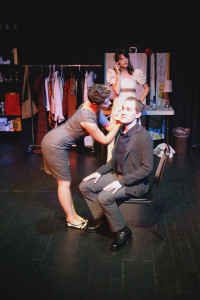 Katrina Bushnell, Brandice Thompson, and Justin Gillman in the No Nude Men production.