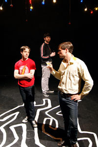Brian Martin, John Caldon, Chris Struett in the No Nude Men production.